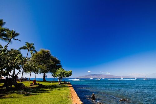 Waters off Lahaina town with Lanai in the backdrop